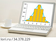 Gaussian, bell or normal distribution curve and histogram on laptop... Стоковое фото, фотограф Zoonar.com/Marek Uliasz / easy Fotostock / Фотобанк Лори