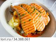 Tasty steak of grilled salmon in sauce with pepper and lemon on plate. Стоковое фото, фотограф Яков Филимонов / Фотобанк Лори