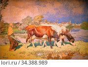 Bergmann Julius Hugo - Dessin De Bergère Et Ses Vaches - German School... Редакционное фото, фотограф Artepics / age Fotostock / Фотобанк Лори