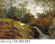 Achenbach Andreas - Landschaft Mit Wildbach - German School - 19th... Редакционное фото, фотограф Artepics / age Fotostock / Фотобанк Лори
