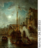 Achenbach Andreas - Venedig Bei Nacht - German School - 19th Century. Редакционное фото, фотограф Artepics / age Fotostock / Фотобанк Лори