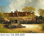 Achenbach Andreas - Wassermühle Am Fluss - German School - 19th and... Редакционное фото, фотограф Artepics / age Fotostock / Фотобанк Лори