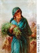 Bach Guido - the Shepherdess - German School - 19th Century. Редакционное фото, фотограф Artepics / age Fotostock / Фотобанк Лори
