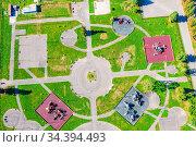 Recreation park. Top view of an amusement park. Стоковое фото, фотограф Евгений Ткачёв / Фотобанк Лори