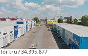 "July 27, 2020 RUSSIA, KAZAN - industrial warehouses zone - technopolis ""Himgrad"" in the city. Редакционное видео, видеограф Константин Шишкин / Фотобанк Лори"