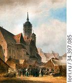 Doll Anton - Nikolaikirche in Leipzig - German School - 19th Century. Редакционное фото, фотограф Artepics / age Fotostock / Фотобанк Лори