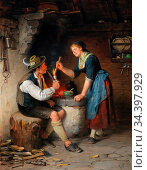 Epp Rudolf - Junges Paar an Der Feuerstelle - German School - 19th... Редакционное фото, фотограф Artepics / age Fotostock / Фотобанк Лори