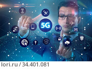 5g internet concept with businessman pressing buttons. Стоковое фото, фотограф Zoonar.com/Elnur Amikishiyev / easy Fotostock / Фотобанк Лори
