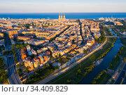 Modern buildings in the coastal residential areas of Sant Adria de Besos and Badalona. Barcelona. Стоковое фото, фотограф Яков Филимонов / Фотобанк Лори