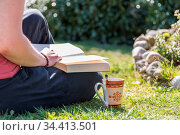Person liest entspannt im Garten bei einem Kaffee ein Buch - Erholung... Стоковое фото, фотограф Zoonar.com/Alfred Hofer / easy Fotostock / Фотобанк Лори