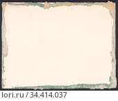 Оборотная сторона старой фотографии со следами клея. Декоративная рамка из остатков зеленой бумаги, фон. Стоковая иллюстрация, иллюстратор александр афанасьев / Фотобанк Лори