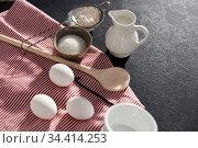 eggs, sugar, milk, flour, spoon and vanilla. Стоковое фото, фотограф Syda Productions / Фотобанк Лори