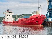 Cargo ship Sasco Angara Russian Sakhalin Shipping Company at pier commercial container terminal seaport. Portal crane unloading containers (2018 год). Редакционное фото, фотограф А. А. Пирагис / Фотобанк Лори