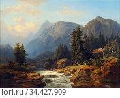 Millner Carl - Alpine Landschaft Mit Wildbach 1 - German School - ... Редакционное фото, фотограф Artepics / age Fotostock / Фотобанк Лори