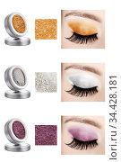 Three different colors of solid eyeshadows, in elegant grey container... Стоковое фото, фотограф Zoonar.com/Arthur Mustafa / easy Fotostock / Фотобанк Лори
