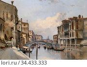 Siegen August Von - Kanal in Venedig - German School - 19th and Early... Редакционное фото, фотограф Artepics / age Fotostock / Фотобанк Лори