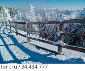 Beautiful winter landscape in the mountains, with wooden fence, spruce... Стоковое фото, фотограф Zoonar.com/Arthur Mustafa / easy Fotostock / Фотобанк Лори
