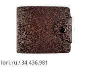 Man brown leather wallet. Stylish closed wallet isolated on white... Стоковое фото, фотограф Zoonar.com/Arthur Mustafa / easy Fotostock / Фотобанк Лори