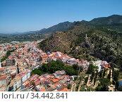 Moixent townscape aerial view. Spain. Стоковое фото, фотограф Alexander Tihonovs / Фотобанк Лори