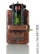 Медная лампа в стиле стимпанк. Стоковое фото, фотограф Валерий Александрович / Фотобанк Лори