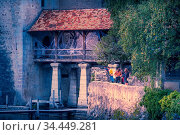Montreux, Switzerland - October 12, 2019: People at Chillon castle... Стоковое фото, фотограф Zoonar.com/Nataliya_Nazarova{} / age Fotostock / Фотобанк Лори