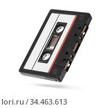 Old autio tape compact cassette with blank tag isolated on white. Стоковое фото, фотограф Александр Лычагин / Фотобанк Лори