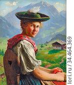 Rau Emil - a Pretty Girl - German School - 19th Century. Стоковое фото, фотограф Artepics / age Fotostock / Фотобанк Лори