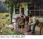 Rau Emil - a Summer's Day in Front of the House 2 (Young Couple in... Стоковое фото, фотограф Artepics / age Fotostock / Фотобанк Лори