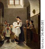 Salentin Hubert - Vor Der Taufe 1 - German School - 19th Century. Стоковое фото, фотограф Artepics / age Fotostock / Фотобанк Лори