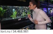 Portrait of interested young woman looking at colorful tropical fish in aquariums in pet shop. Стоковое видео, видеограф Яков Филимонов / Фотобанк Лори