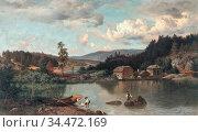 Munsterhjelm Hjalmar - Angler - Finnish School - 19th Century. Редакционное фото, фотограф Artepics / age Fotostock / Фотобанк Лори