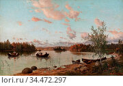 Munsterhjelm Hjalmar - Riverbank at Sunset - Finnish School - 19th... Редакционное фото, фотограф Artepics / age Fotostock / Фотобанк Лори