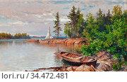 Munsterhjelm Hjalmar - the Rowing Boat - Finnish School - 19th Century... Редакционное фото, фотограф Artepics / age Fotostock / Фотобанк Лори