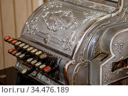 Budapest, Hungary - March 25, 2018: Antique cash register, buttons... Стоковое фото, фотограф Zoonar.com/Ruslan Gilmanshin / easy Fotostock / Фотобанк Лори