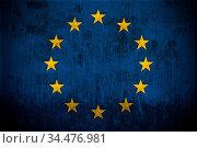 Weathered Flag Of Europe Union, fabric textured. Стоковое фото, фотограф Zoonar.com/Ruslan Gilmanshin / age Fotostock / Фотобанк Лори