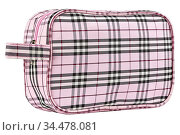 Pink cosmetic travel bag with lines pattern, isolated on white background... Стоковое фото, фотограф Zoonar.com/Arthur Mustafa / easy Fotostock / Фотобанк Лори