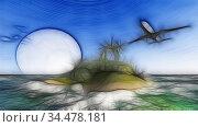 . White passenger plane flying in the sky - 3d rendering.. Стоковое фото, фотограф Vitanovski Jovanche / easy Fotostock / Фотобанк Лори
