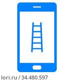 Leiter und Smartphone - Ladder and smartphone. Стоковое фото, фотограф Zoonar.com/Robert Biedermann / easy Fotostock / Фотобанк Лори