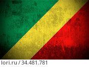 Weathered Flag Of Republic of the Congo, fabric textured. Стоковое фото, фотограф Zoonar.com/Ruslan Gilmanshin / age Fotostock / Фотобанк Лори
