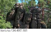 Скалы Четыре Брата в Белокурихе на Алтае / Aerial video of rock Four Brothers in the forest on a mountain near the Altai resort of Belokurikha. Стоковое видео, видеограф Serg Zastavkin / Фотобанк Лори