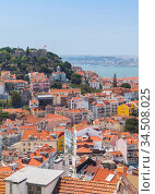 Lisbon view at sunny summer day, Portugal. Vertical (2017 год). Стоковое фото, фотограф EugeneSergeev / Фотобанк Лори