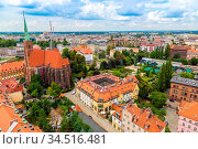 Aerial view of Wroclaw in summer day from Cathedral St. John in Poland. Стоковое фото, фотограф Zoonar.com/Figurniy Sergey / easy Fotostock / Фотобанк Лори