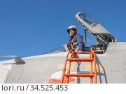 Military pilot in the cockpit of a jet aircraft. Стоковое фото, фотограф Zoonar.com/Alexander Strela / easy Fotostock / Фотобанк Лори