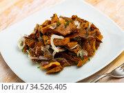 Delicious salted mushrooms with onions and dill. Стоковое фото, фотограф Яков Филимонов / Фотобанк Лори