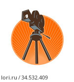 Icon retro style illustration of a Vintage 35mm Motion Picture Camera... Стоковое фото, фотограф Zoonar.com/aloysius patrimonio / easy Fotostock / Фотобанк Лори