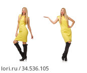 Pretty fair girl in yellow dress isolated on white. Стоковое фото, фотограф Elnur / Фотобанк Лори