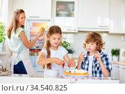 Zwei Kinder backen zusammen einen Kuchen mit der Mutter in der Küche. Стоковое фото, фотограф Zoonar.com/Robert Kneschke / age Fotostock / Фотобанк Лори