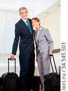 Zwei lächelnde Geschäftsleute als Paar mit Koffer im Zimmer vom Hotel. Стоковое фото, фотограф Zoonar.com/Robert Kneschke / age Fotostock / Фотобанк Лори