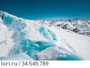 A close-up of snow-covered cracks in the Elbrus volcano glacier. North... Стоковое фото, фотограф Zoonar.com/Ian Iankovskii / easy Fotostock / Фотобанк Лори