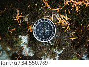 Magnetic compass with a black dial on a wild stone covered with green... Стоковое фото, фотограф Zoonar.com/Ian Iankovskii / easy Fotostock / Фотобанк Лори